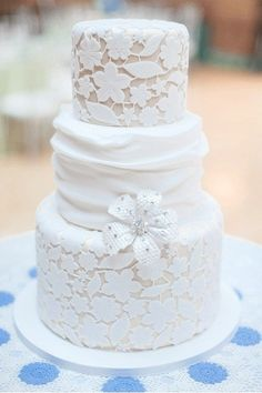 a white on white lace pattern that completely covers the layer shows amazing craftsmanship from the decorator #PreppyPlanner