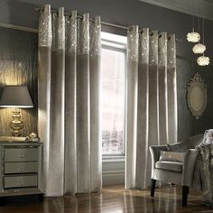 These designer curtains also match the new Kylie Minogue bedding range - Esta Silver, also available to buy now. Kylie Esta Silver Curtains are sold in pairs and are fully lined. Home Curtains, Curtains Living, Lined Curtains, Luxury Curtains, Luxury Bedding, Kylie Minogue Curtains, Kylie Minogue At Home, Silver Curtains, Beaded Curtains