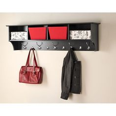 Hang this black entryway shelf near your front door for your storage needs. Ten hooks provide space for jackets and bags, while four compartments will easily hold gloves, hats, storage baskets, and more. The whole family will love this functional shelf.