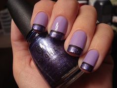 Lavender with matte black and glitter tips #Nails #Purple