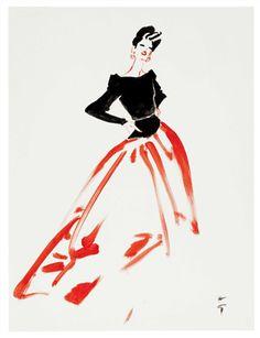 RENE GRUAU (1909-2004) master fashion  GRANDE ROBE DE SOIREE, 1980