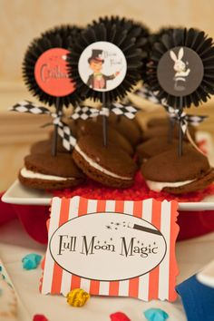 """Love the play on words, """"Full Moon Magic.""""  Also, found """"Magician's Potion, Abra Cadabra Cupcakes, Houdini's Chicken Nuggets, Disappearing Pizza, Powerful Pretzels, Groovy Goldfish, Fantasy Fruit Snacks, and Magical M's, Houdini's Hot Dogs, Fantasy Fruit, Voila Veggies, and Showtime Sandwiches."""""""