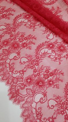 Red/pink lace fabric, French Lace Chantilly Lace Bridal lace Wedding Lace Evening dress lace Scalloped Floral lace Lingerie LaceToLove Lace To Love