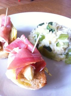 risotto verde og brød med grillet artiskok og serano!
