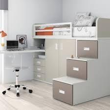 Cama alta com escrivaninha e roupeiro projeto kit - Cama armario debajo ...
