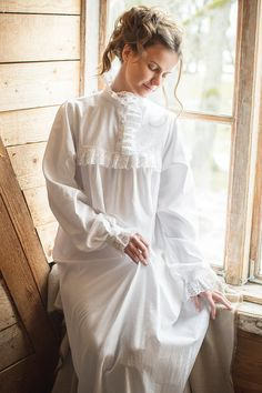 Victorian Winter long cotton women's night gown by MaddeClothing