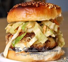 Tilapia Burgers with a Spicy Jalapeno Slaw