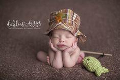 Plano Newborn Photographer, newborn boy, fishing, fishing hat