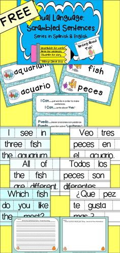 This FREE package…  …includes scrambled words for making one story in English and the same story in Spanish. Each story has 3 sentences to unscramble. Next, the sentences are written into a story and students are encouraged to add to the story with their own creative conclusion. Then the story is illustrated with the facts from the story to check comprehension.