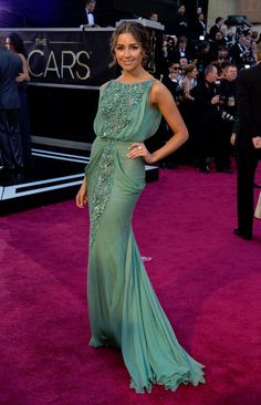 Olivia Culpo (aka Miss Universe, 2012) is gorgeous in a beaded mint green Tony Ward gown on the Oscars red carpet.