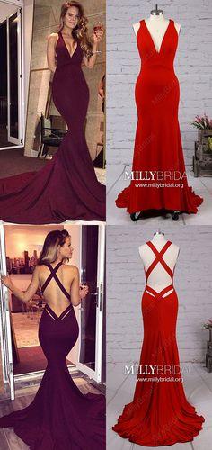 Long Prom Dresses,Burgundy Formal Evening Dresses,Jersey Pageant Dresses V-neck,Mermaid Graduation Dresses with Ruffles #MillyBridal #burgundy #partydresses