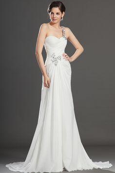 beautiful 2013 Wedding Dresses A Line One shoulder Sweep Brush Train Chiffon