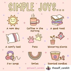 LOVE these tips from @theself_carekit to embrace more joy! . . . Today is an opportunity to embrace the simple joys of life! I know life can get busy but its the simple joys that remind us that life can also be fun. Whats your favorite simple joy in life? Let me know down below! Positive Self Affirmations, Positive Quotes, Motivacional Quotes, Care Quotes, Self Care Bullet Journal, Vie Motivation, Self Care Activities, Joy Of Life, Self Improvement Tips