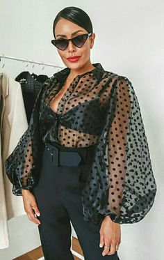 Sheer Polka Dot Organza Blouse Top Black (With images) Classy Outfits, Chic Outfits, Fashion Outfits, Fashion Trends, Moda Fashion, Womens Fashion, Uk Fashion, Latest Fashion, Moda Chic