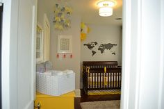 I have wanted a yellow and grey guest room...but it is a great idea for a nursery too