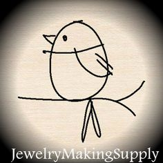 Wood Mounted Rubber Stamp Mod Bird