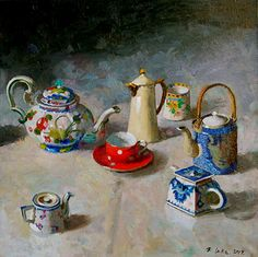 """""""Teapots Chasing a Teacup"""", 30"""" x 30"""", oil, by RANDALL LAKE."""