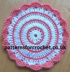 Pretty Plant Pot Mat FREE crochet pattern from http://www.patternsforcrochet.co.uk/plant-pot-mat-usa.html USA and UK terminology.