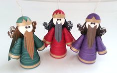 Wise Men Christmas Ornaments Set Paper Quilled in Crimson, Purple and Green Nativity Decorations Quilling Dolls, 3d Quilling, Quilling Patterns, Quilling Designs, Christmas Nativity Set, Christmas Ornament Sets, Christmas Crafts, Christmas Ideas, Xmas
