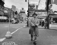 1954 TIMES SQUARE Man Walking LOEWS STATE THEATRE Maxwell House 1950s NYC vintage new york city photo