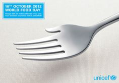 I love how the fork represents not only unicef feeding people but that they are also reaching out a hand to help them in other ways. It is a simple idea but I think it works really effectively.