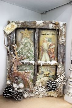 Christmas Window weihnachten wohnzimmer 31 Indoor Woodworking Projects to Do This Winter Christmas Frames, Primitive Christmas, Rustic Christmas, Christmas Art, Christmas Projects, Handmade Christmas, Vintage Christmas, Christmas Holidays, Christmas Wreaths