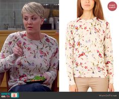 Penny's white floral sweater on The Big Bang Theory.  Outfit Details: http://wornontv.net/46180/ #TheBigBangTheory