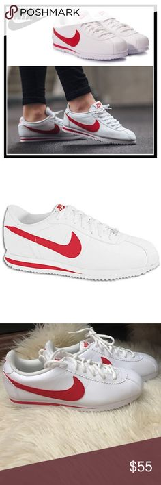 NWOB Red and White Cortez New Red and White Cortez. Size 6.5 Youth, equivalent to a size 8 Women's. New without box. Nike Shoes Sneakers