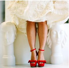 I love red heels with wedding dresses!!!