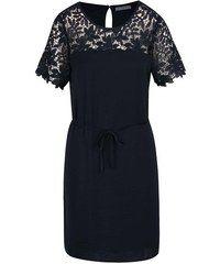 Tmavomodré šaty s čipkovaným sedlom a rukávmi VILA Melli