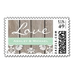 Mint Green Rustic Wood Lace Love Wedding Postage Stamps. This is a fully customizable business card and available on several paper types for your needs. You can upload your own image or use the image as is. Just click this template to get started!