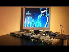 "5 floppy disk drives break beat ""Derezzed by Daft Punk from Tron:Legacy"""