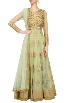 Kylee presents Mint green floral embroidered anarkali set available only at Pernia's Pop Up Shop. Indian Gowns, Indian Attire, Indian Wear, Pakistani Outfits, Indian Outfits, Beautiful Dresses, Nice Dresses, Bollywood, Anarkali Dress