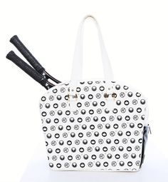 """Slam Glam - Cortiglia Grand Sport Royal Blanc Tennis Tote Bag, $285.00 (http://www.slamglam.com/products.php?product=Cortiglia-Grand-Sport-Royal-Blanc-Tennis-Tote-Bag/) This bag sports beautiful hardware, gorgeous leather and an energizing interior. A logo of Marion's """"M,"""" wings and crowns adorn the bag in the shape of a wing. #cortiglia #tennisbags #luxurytennisbags"""