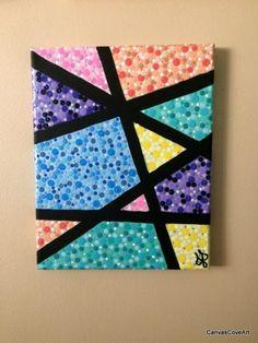 Geométricos punto acrílico 8 x 10 lona de pintura diseño abstracto, abstrac Easy Canvas Art, Simple Canvas Paintings, Small Canvas Art, Easy Canvas Painting, Mini Canvas Art, Dot Art Painting, Canvas Crafts, Acrylic Canvas, Masking Tape Art
