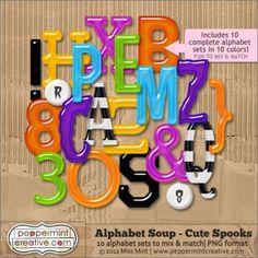 CUTE Spooks - Alphabet Soup $7.00 #peppermintcreativewishlist