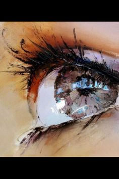 #paintings The eyes is dominant in this painting. I love how the artist added small clumps on the eyelashes to indicate mascara.