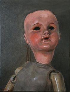 poupée de porcelaine huile sur toile 27x35 jb©