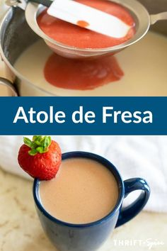 Atole de fresa is a delicious hot Mexican beverage made from masa harina and strawberries. It's just what you need to warm you up during the chilly fall and winter weather. Cocoa Recipes, Easy Drink Recipes, Mexican Food Recipes, Atole Recipe, Slow Cooker Recipes, Cooking Recipes, Mexican Drinks, Thanksgiving Drinks, Recipe Filing