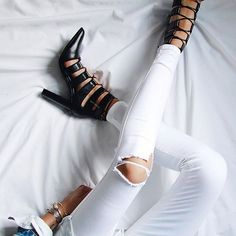 white jeans + senso leather heels