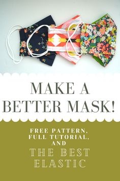I've tried them all! I couldn't wear an uncomfortable mask for one more day! So I found the best style with the perfect elastic for a more comfortable face mask that doesn't hurt the ears and is easier to breathe in. It's also much less fussy to sew! Come grab the free pattern for this origami style face mask. || Pin Cut Sew #sewing #diymask #howtosew #maskpattern #howtomakeamask #comfortablemask #maskelastic Sewing Hacks, Sewing Tutorials, Sewing Crafts, Small Sewing Projects, Sewing Diy, Sewing Ideas, Diy Crafts, Best Masks, Easy Face Masks