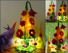 Gefilzte Blume Lampe Nachttischlampe Nachtlicht von FeltedArtToWear