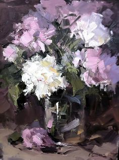 Peonies in Glass by Kaye Franklin Oil ~ 12 x 9