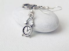 I Am Late   Silver Alarm Clock Earrings  by AnyaCloudJewellery, $9.00