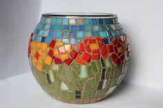 Flower Garden Mosaic Candleholder by AlisMosaics on Etsy