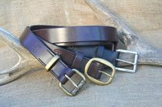 Hand stitched 4/5mm thick bridle leather belts . solid brass buckles all hand stitched and finished.  Custom made to fit.