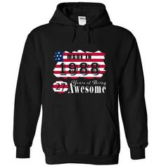 Made In 1988 Years Being Awesome T Shirts, Hoodies, Sweatshirts. GET ONE ==> https://www.sunfrog.com/Birth-Years/Made-In-1988-Years-Being-Awesome-1-9874-Black-21901222-Hoodie.html?41382