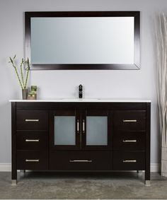 large single sink vanity 60 inches mirror and faucet included