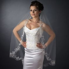 "Single Layer Fingertip Length, Couture Embroidery Veil.  Size: 42"" long x 72"" wide  Available in White or Ivory"