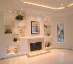 14 breathtaking gypsum board and niches for tv wall unit for Decoracion de techos interiores